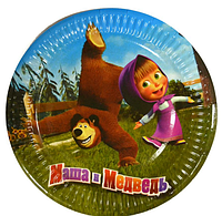 """Тарелки детские одноразовые бумажные """"Маша и Медведь"""""""