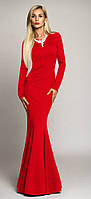 Красивое платье-русалка в пол красное