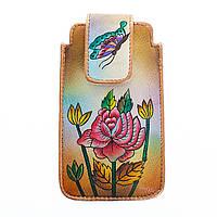 Чехол кожаный для телефона с ручной росписью