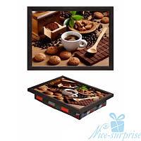 Поднос на подушке Кофе с плиткой шоколада