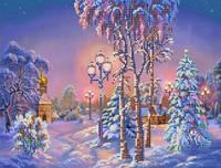 Картины бисером S-012 Зимний вечер, схема под бисер