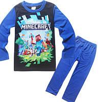Детский трикотажный костюм Майнкрафт (синий)