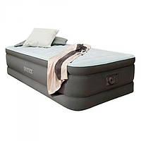 Надувная кровать односпальная с насосом Intex 64472