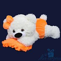 Мягкая игрушка Плюшевый медведь Малышка 50 см (белый+оранжевый)
