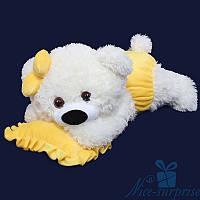 Мягкая игрушка Плюшевый медвежонок Малышка 50 см (белый+желтый)