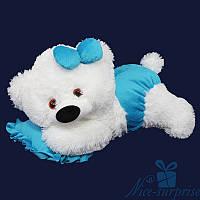 Мягкая игрушка Плюшевый мишка Малышка 50 см (белый+голубой)