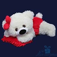 Мягкая игрушка Плюшевый медведь Малышка 50 см (белый+красный)