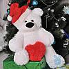 Маленький плюшевый медведь Бублик с сердцем 70 см (белый)