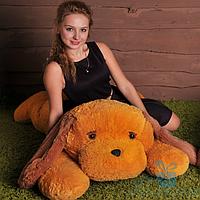 Мягкая игрушка Лежачая плюшевая Собачка Тузик 140 см (медовый), фото 1