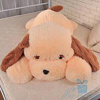 Мягкая игрушка Лежачая плюшевая Собачка Тузик 140 см (персиковый), фото 1