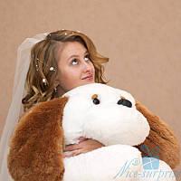 Мягкая игрушка Лежачая плюшевая Собачка Тузик 55 см (белый), фото 1