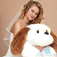 Мягкая игрушка Лежачая плюшевая Собачка Тузик 100 см (белый)