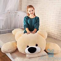 Мягкая игрушка Лежачий плюшевый Мишка Умка 125 см (персиковый), фото 1