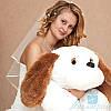 Мягкая игрушка Лежачая плюшевая Собачка Тузик 140 см (белый)
