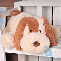 Мягкая игрушка Лежачая плюшевая Собачка Шарик 110 см (персиковый), фото 1