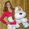 Мягкая игрушка Лежачая плюшевая Собачка Шарик 50 см (белый)