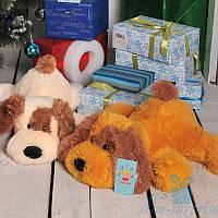 Мягкая игрушка Лежачая плюшевая Собачка Шарик 75 см (медовый), фото 1