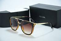 Солнцезащитные очки Prada коричневые с золотом, фото 1