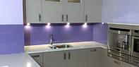 """Кухонный фартук крашенный """"Ультрафиолет"""". Безопасное стекло. Выбор цвета. Размер под заказ. Сверление стекла"""