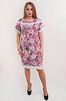 Стильное платье с белой отделкой в модный цветочный принт