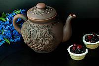 Чайник большой из красной глины 1,7 л.