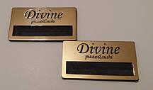 металлические бейджи под золото для вставки имени