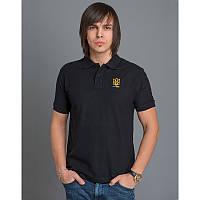 Мужская патриотическая футболка-поло «Тризуб» (черная)