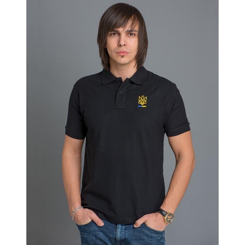 Мужская патриотическая футболка-поло «Тризуб» (черная) - Патриотический  интернет-магазин 9356bb5e0dfde