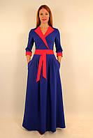 Длинное стильное платье с запахом 44-50 р ( синий, красный, электрик, зеленый )