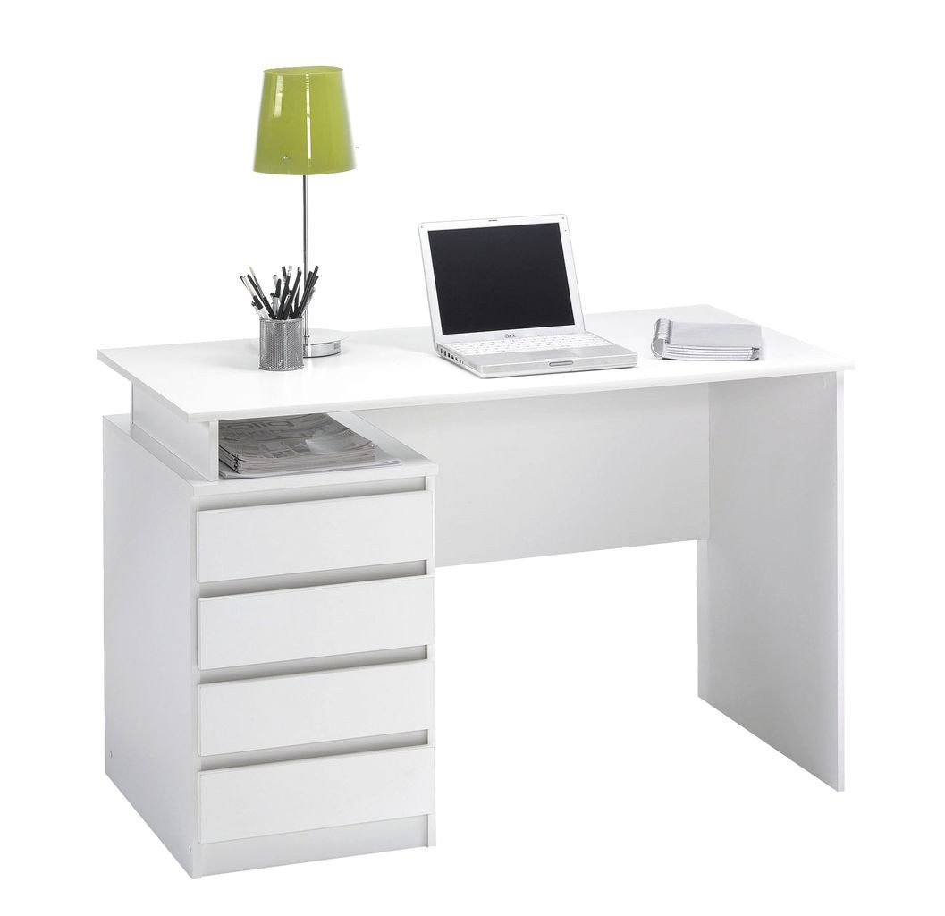 Столик письменный для ноутбука ламинированный белый (4 ящика)