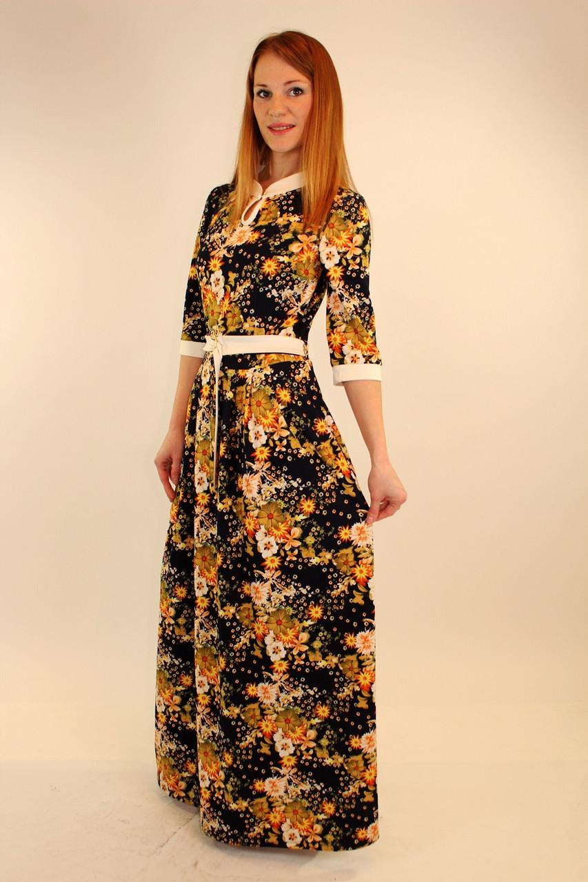 Платье длинное с поясом 46-48-50 р
