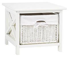 Тумба прикроватная белая с плетеным ящиком