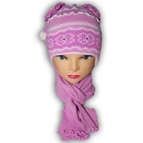 Шапочка вязаная для девочек,подкладка хлопок, производитель Grans (Польша), модель A515
