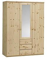 Шкаф 3-х дверный с зеркалом + 3 ящика (цвет сосна), фото 1