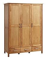 Шкаф 3-х дверный + 3 ящика (цвет дуб) 139х61 см, вис. 190 см, фото 1