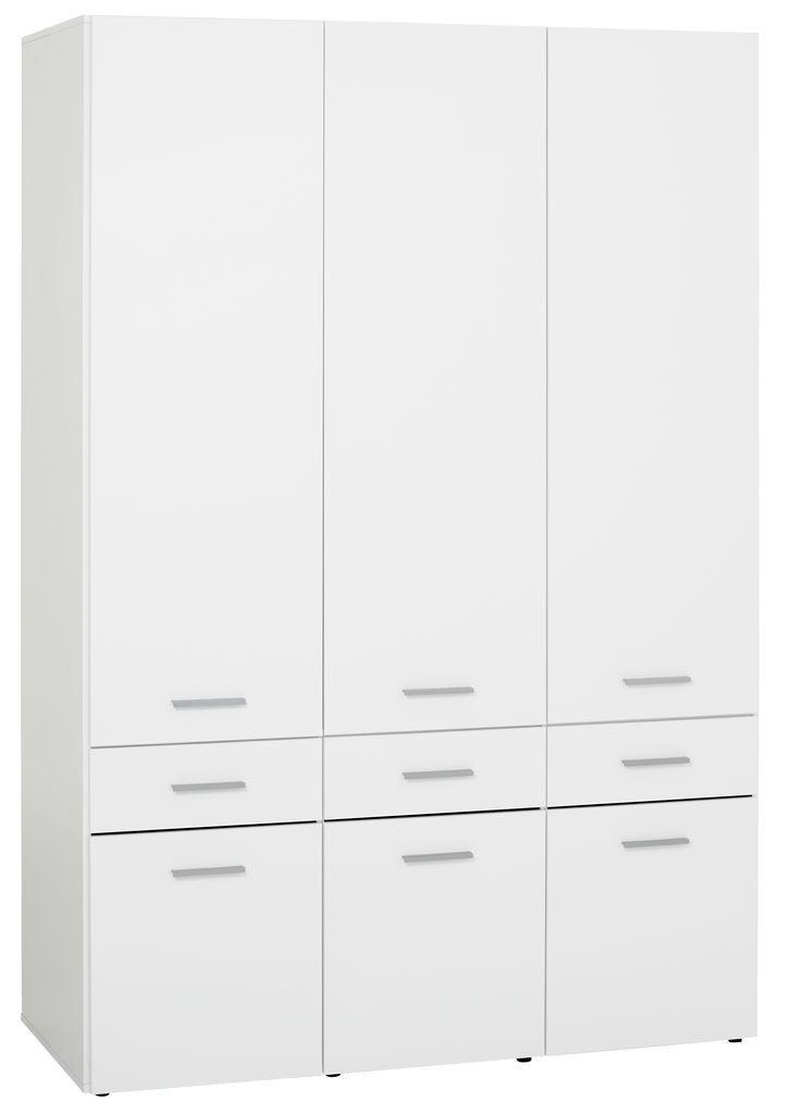 Шкаф 3-х дверный + 6 ящиков (цвет белый глянец)  144х62 см, вис. 210 см