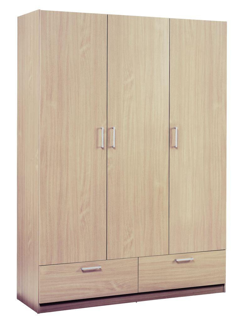 Деревянный 3-х дверный шкаф + 2 ящика (цвет дуб)