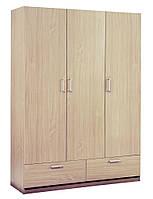 Деревянный 3-х дверный шкаф + 2 ящика (цвет дуб), фото 1