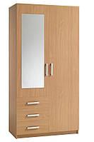 Шкаф 2-х дверный + 3 ящика с зеркалом (цвет бук), фото 1