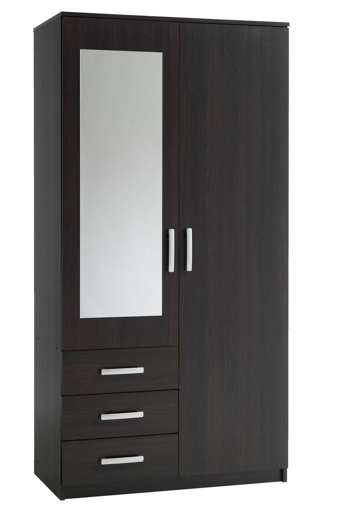 Шкаф 2-х дверный + 3 ящика с зеркалом (цвет венге)