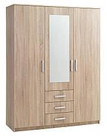 Шкаф 3-х дверный + 3 ящика с зеркалом (цвет дуб), фото 1