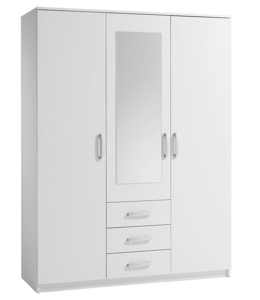Шкаф 3-х дверный + 3 ящика с зеркалом (цвет белый)