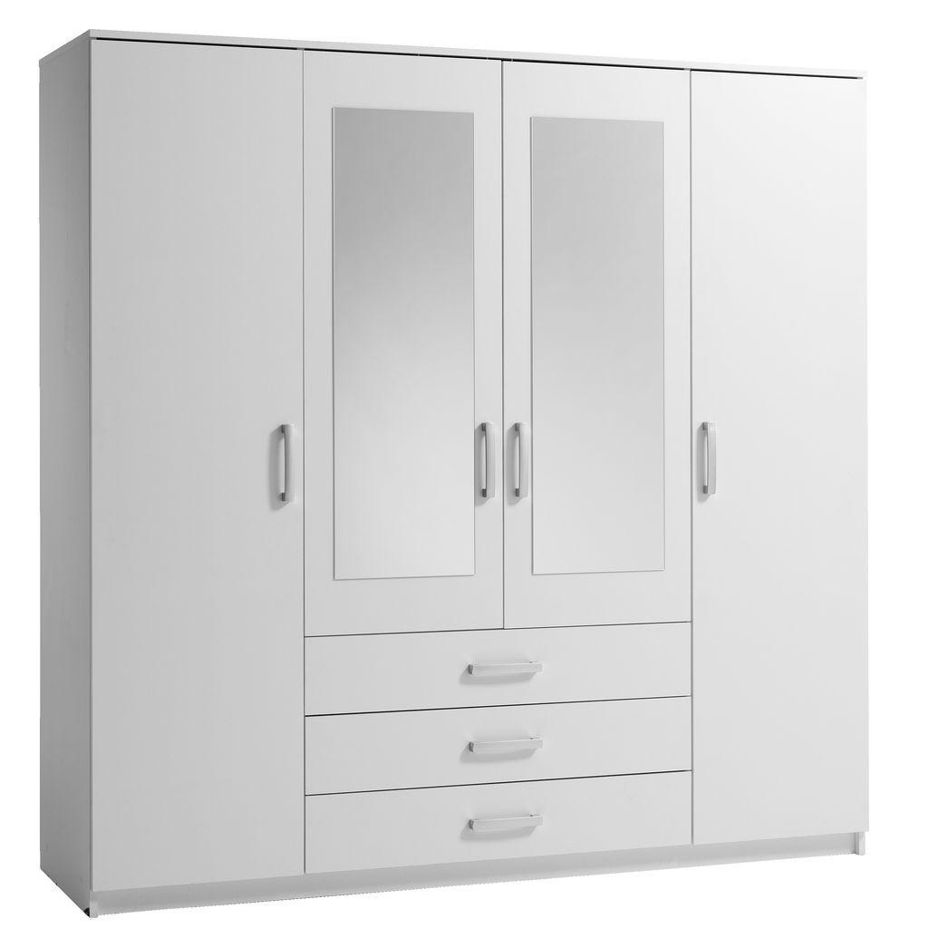 Шкаф 4-х дверный + 3 ящика с двумя зеркалами (цвет белый)
