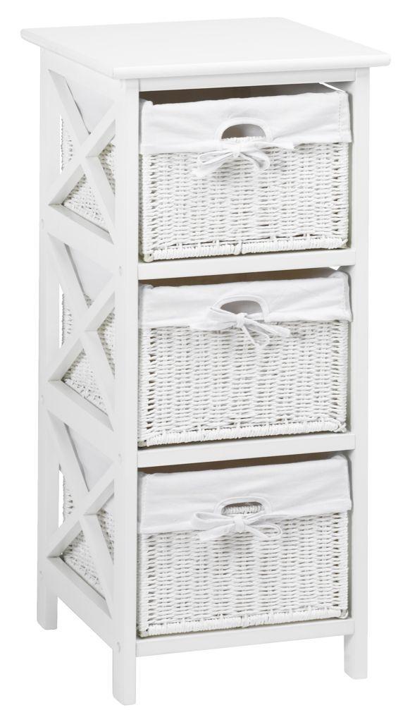 Комод с 3-мя плетенными ящиками, цвет белый