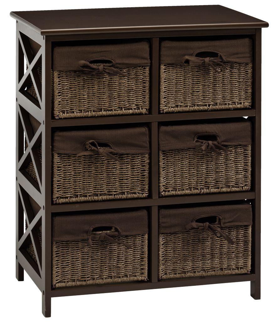 Комод деревянный с 6-мя выдвижными ящиками, цвет (венге) коричневый