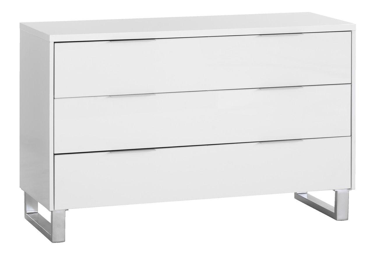 Комод шиокий с 3 выдвижными ящиками, 120х45см, белый, фото 1