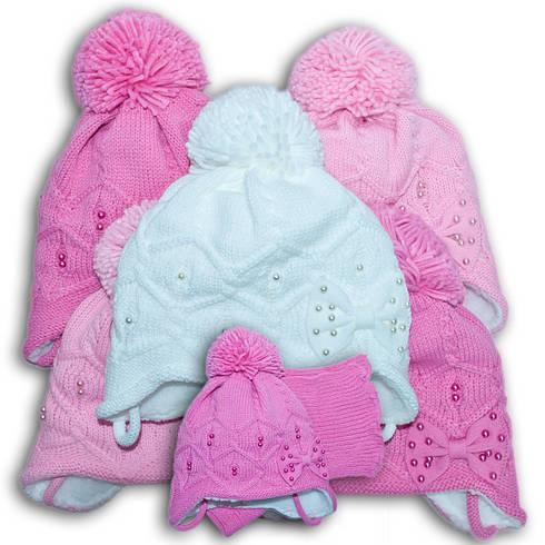 Комплект (шапка + шарф) Польского производителя Ambra с подкладкой искуственный мех, модель F73/МЕХ