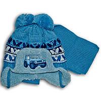 Комплект (шапка + шарф) Польского производителя Ambra с подкладкой искуственный мех, модель H100/МЕХ