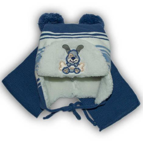 Комплект (шапка + шарф) Польского производителя Ambra с подкладкой искуственный мех, модель H25/МЕХ