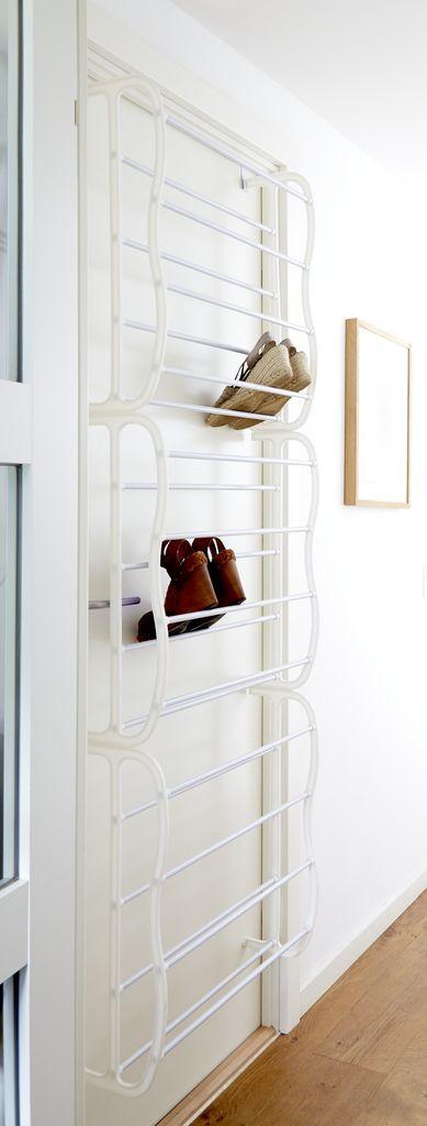 Полка для обуви металлическая белая, 36 пар обуви